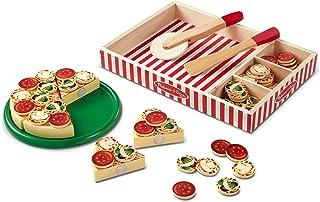 Melissa & Doug   Pizza en bois  Jeux d'aliments en bois   Pour garçon ou fille   Jeux de rôle   Jeux d'aliments en bois