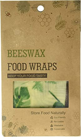 Komoo Plastic-Free Beeswax Food Storage Wrap with Natural Organic Ingredients Suit for Store Fruit Bread and Leftover, Pack of 3, 78+1011+1314 inches, Pineaple and Banana
