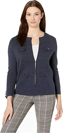 Solid Cardigan with Pocket Flaps