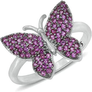chimoda Butterly Theme 925 Sterling Silver Ring for Women, Red Cubic Zirconia Stone Womens Rings, Chic Women's Jewellery, ...