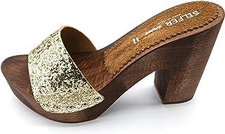 Silfer Shoes - Zoccolo in Vero Legno e Vera Pelle con Glitter Gold