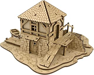 TowerRex Water Mill D&D Miniatures Wooden Laser Cut Fantasy Terrain 28mm Scale for Dungeons & Dragons Pathfinder Other Tab...
