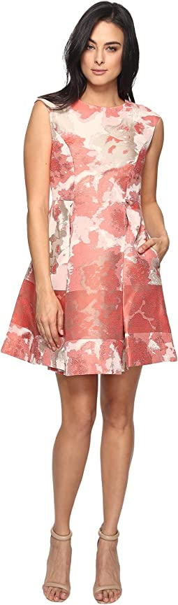 Jacquard Extended Cap Fit and Flare Dress