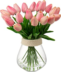 GARHOO Pink Tulips Real Touch Fake Flowers Floral Arrangement for Wedding Home Centerpiece Decoration Artificial Flower Fake Tulips for Wedding Home Decor-Pink Flowers