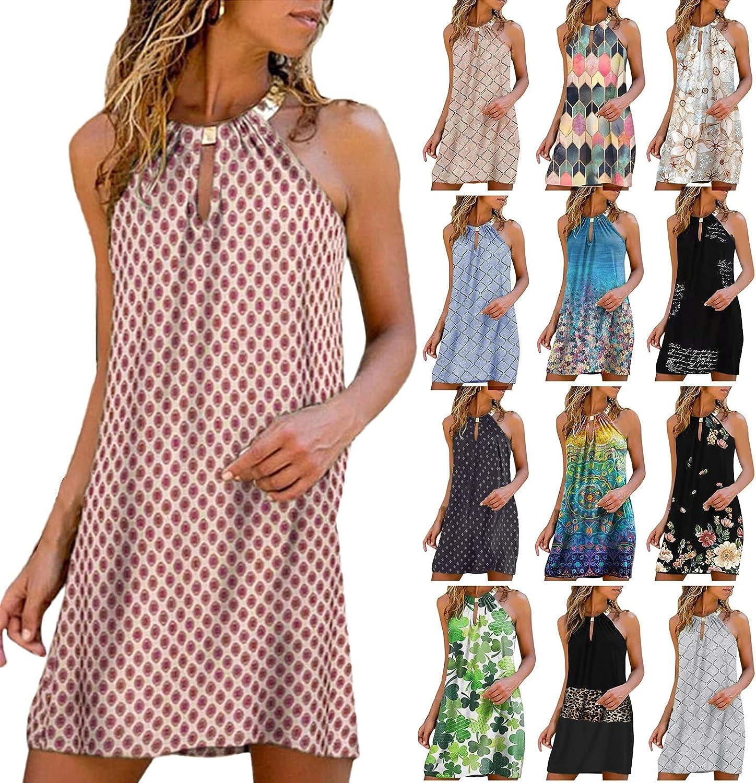 Boho Dress for Women Metal Halter Neck Floral Print Loose Casual Sleeveless Short Dress Mini Beachwear Dress Sundress
