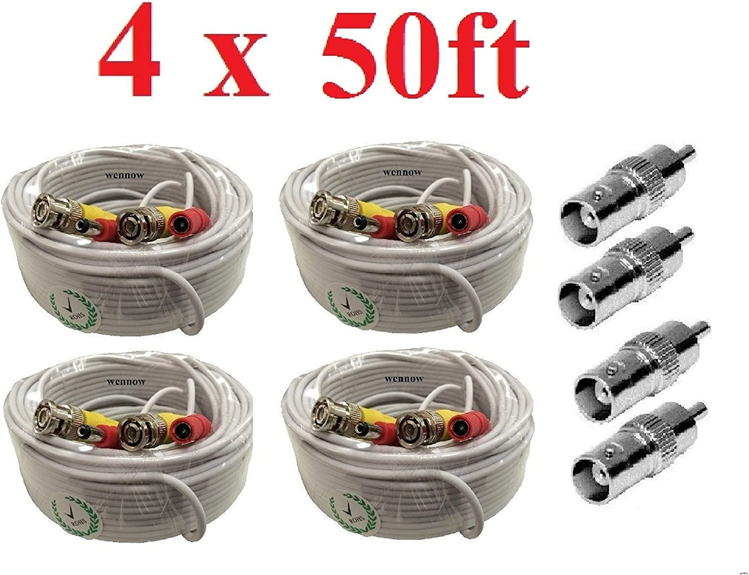 Wennow White Premium Quality Max 61% OFF Tulsa Mall 4x50Ft Nigh Power Cable for Video