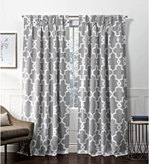 Exclusive Home Curtains Ironwork Pinch Pleat Curtain Panel, 52x96, Silver, 2 Panels