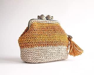 Monedero de mujer tejido en crochet de lana y lino: Amazon ...