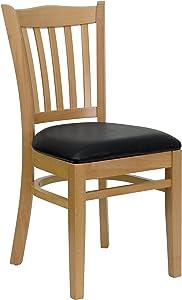 Flash Furniture HERCULES Series Vertical Slat Back Natural Wood Restaurant Chair - Black Vinyl Seat
