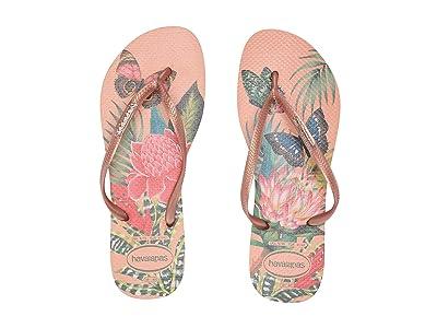 Havaianas Slim Tropical Flip Flops (Salmon Nude) Women