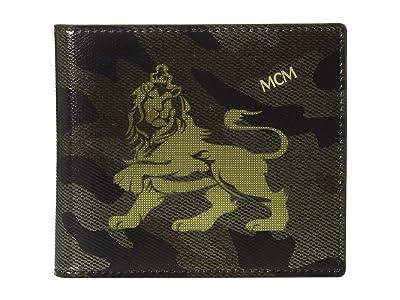 MCM Munich Lion Camo Flap Wallet/Two-Fold Small (Munichi Gold) Wallet Handbags