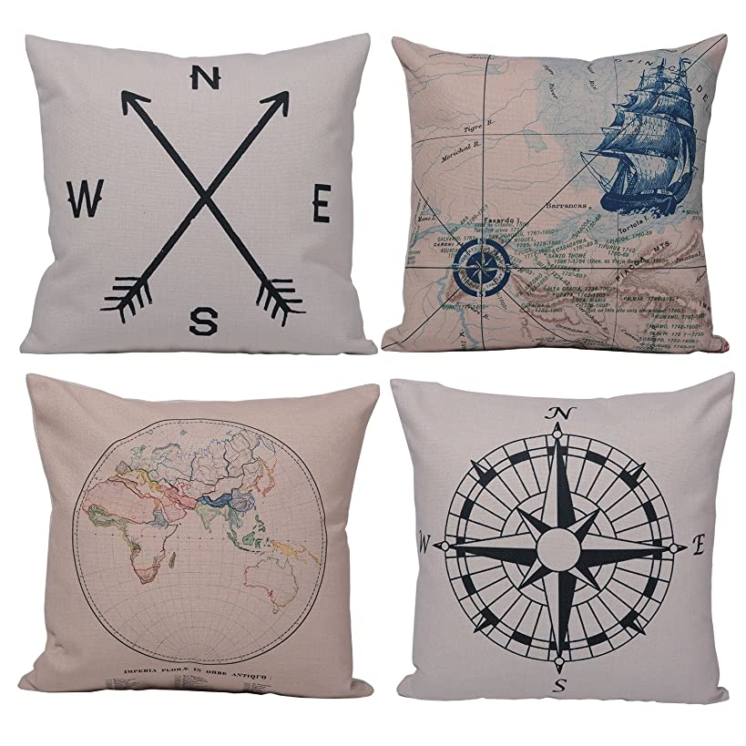 Azuki Geometry Decorative Throw Pillow Cases Cushion Covers Pillowcases for Sofa Bedroom Car 18 x 18 Inch 45 x 45 Cm Set of 4 (Ocean Compass)