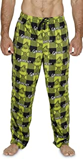 Dr. Seuss The Grinch Mens Green Plaid Microfleece Sleep Pants Pajama Bottoms