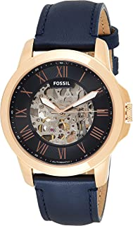 Fossil Men's Grant Automatic Watch in Rose Goldtone with Navy Leather Strap