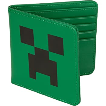 JINX Minecraft Creeper Face Leather Bi-Fold Wallet, Green, One Size