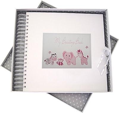 White Cotton Cards mi con Tarjeta y Libro de Recuerdos, Rosa Juguetes, Animales, Junta, Blanco, 27x 30x 4cm