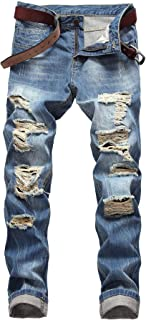 FEESON Men's Casual Regular Straight Leg Loose Fit Ripped Slim Fit Denim Jeans