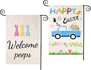 CDLong 2 Pack Easter Garden Flag - Welcome Peeps & Farm Truck Easter Bunny Eggs Yard Flag - Vertical Double Sided 12.5 x 1...