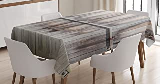 Ambesonne Rustic Tablecloth, Retro Entrance with Padlock to Abandoned House Wooden Gate Rough Oak Agriculture Image, Dining Room Kitchen Rectangular Table Cover, 60