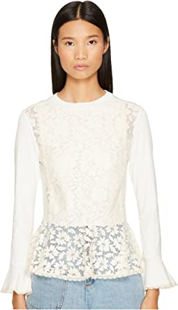 See by Chloe - Embellished Peplum Long Sleeve Tee