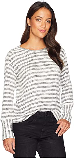 Long Sleeve Mixed Media Pique Bar Stripe Top
