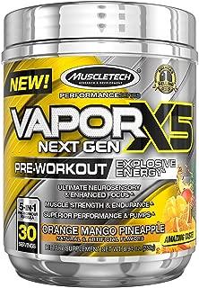 MuscleTech Vapor X5 Next Gen Pre Workout Powder, Explosive Energy Supplement, Orange Mango Pineapple, 30 Servings (8.94oz)