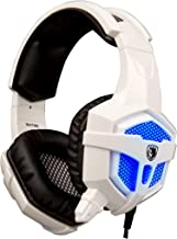 SADES SA-738 Stereo Gaming Headphone Headsets USB 3.5mm LED with Mic for PC/MAC Blue Led Light (White)