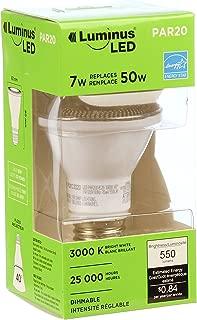 Luminus PLYC3223 Par20 Flood - 7W (50W) 550 Lumens Bright White 3000K Dimmable Led Light Bulb - 6 Pack,