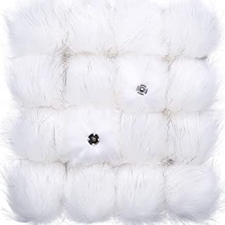 Tatuo DIY Faux Fur Pom Poms Ball with Press Button Removable Fluffy Pompom for Knitting Hats Shoes Scarves Bag Accessories (White Colors, 16)