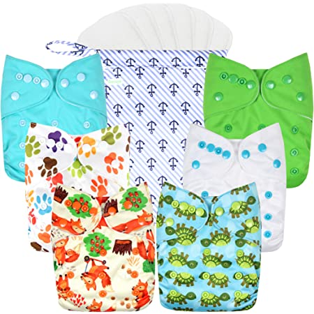 Reusable Pocket Real Cloth Nappy Washable Diaper Bamboo Charcoal Pattern 30 Littles /& Bloomz with 2 Charcoal Inserts