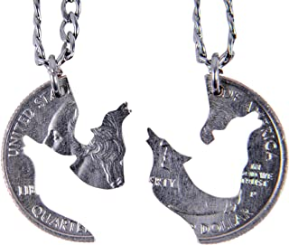 Hand Cut Coin Wolf Necklace Howling Wolves Best Friend Necklaces for 2