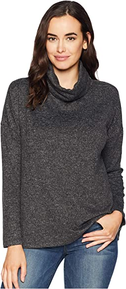 Luxe Soft Marled Sweater Fleece Drop Shoulder Turtleneck