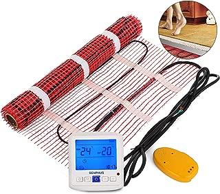 Happybuy 50 Sqft 120V Electric Radiant Floor Heating Mat with Alarmer and Programmable Floor Sensing Thermostat Self-Adhesive Mesh Underfloor Heat Warming Systems Mats Kit (50Sqft Kit)
