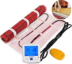 Happybuy 50 Sqft 120V Electric Radiant Floor Heating Mat with Alarmer and Programmable Floor Sensing Thermostat Self-Adhesive Mesh Underfloor Heat Warming Systems Mats Kit (50Sqft Kit)