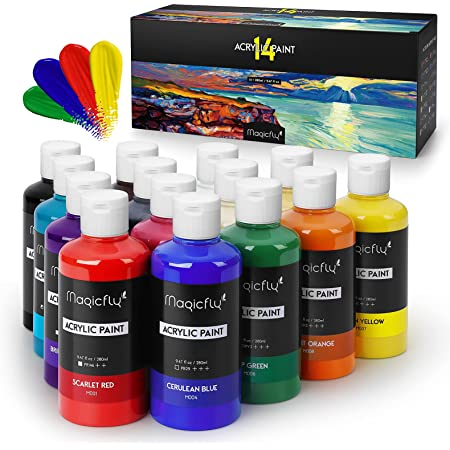Magicfly Bulk Acrylic Paint Set, 14 Rich Pigments Colors (280 ml/9.47 fl oz.) Acrylic Paint Bottles, Non-Fading, Non-Toxic Craft Paints for Painting on Canvas, Ideal for Kids, Artist & Hobby Painters