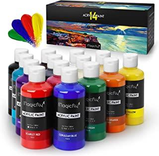 Magicfly Bulk Acrylic Paint Set, 14 Rich Pigments Colors (280 ml/9.47 fl oz.) Acrylic Paint Bottles, Non-Fading, Non-Toxic...