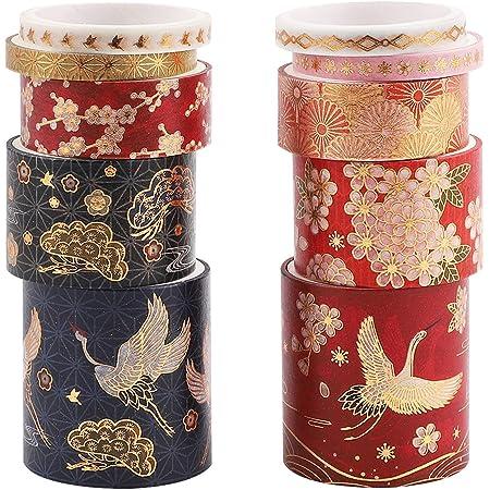 Washi Tape,10 rouleaux Washi Tape Set Ruban de masquage auto-adhésif Style chinois Washi Tape Ruban décoratif Arts Craft Tapes Fournitures pour bricolage Scrapbook Artisanat Cadeaux Décoration