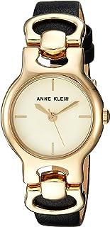 Anne Klein Women's AK/2630CHBK Strap Watch, Gold-Tone and Black Leather