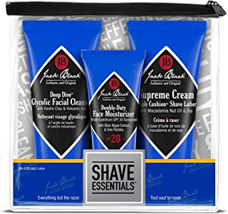 Jack Black - Shave Essentials Set - Deep Dive Glycolic Facial Cleanser, Supreme Cream Triple Cushion Shave Lather, and Double-Duty Face Moisturizer SPF 20, Three Piece Set