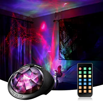 Aurora Borealis Light Projector with White Noise Sound Machine, Bluetooth Speaker/Timer/Remote, LED Moving Psychedelic Northern Ceiling Night Light Gift for Adults, Teenger, Baby, Kids Relax Therapy