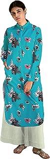 RADANYA Women's Designer Full Sleeve Straight Cotton Kurti Front Button Closer Casual Wear Tunic