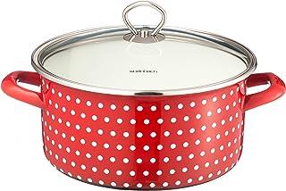 Steinbach–Olla coletto, 24cm de diámetro, incluye tapa, color rojo con lunares blancos, para todos los tipos de cocina + Inducción, esmaltada C de acero, escala en litros erung