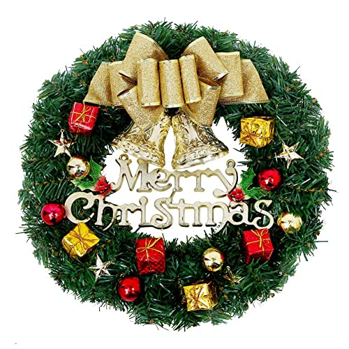Christmas Wreath, 13 Inch Merry Christmas Decorated Pine Wreath, Artificial  Garland With Gold Bowknot