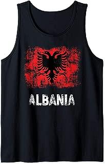 Albania Shirt Patriotic Kuq E Zi Distressed Albanian Flag Tank Top