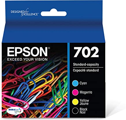 Epson 702 DURABrite Ultra Standard Capacity Cartridge Ink, Black and Color Combo Pack (T702120) - T702120-BCS