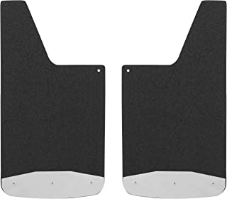 LUVERNE 251223 Universal 12 x 23-Inch Black Inch Inch Textured Rubber Mud Guards with Stainless Steel Plates