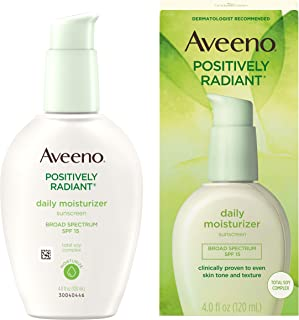 Aveeno Positively Radiant Daily Facial Moisturizer with Broad Spectrum SPF 15 Sunscreen & Total Soy Complex for Even Tone ...