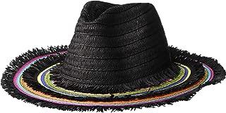 Women's Rainbow Panama Hat with Frayed Edge