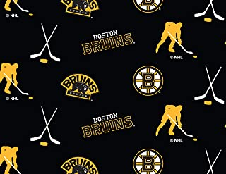 Boston Bruins Fleece Blanket Fabric All Over Design-Sold by The Yard