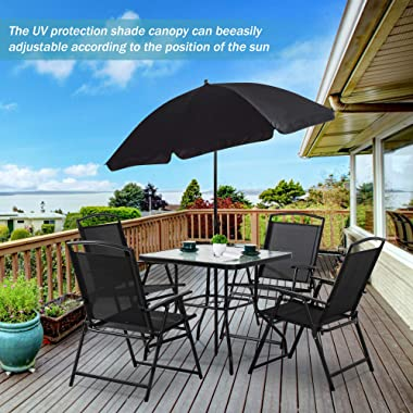 Shintenchi 6 Pieces Black Indoor Outdoor Patio Garden Set with Umbrella, Square Tempered Glass Top Dining Table and 4 Folding